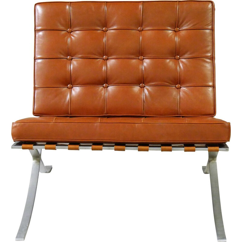 Vintage leather armchair model BARCELONA for Knoll international, 1964