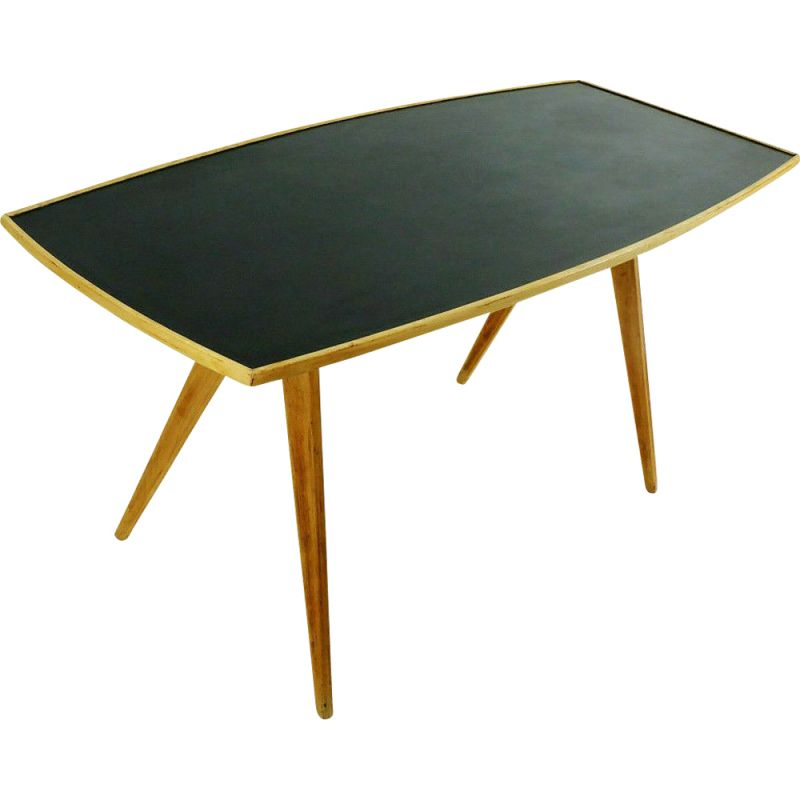 Vintage Coffee Table In Cherry Wood And Black Formica Top And Slanted Legs