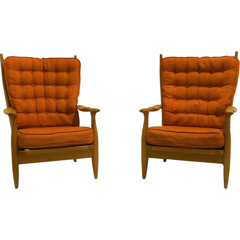 Pair of vintage oak armchairs by Guillerme and Chambron