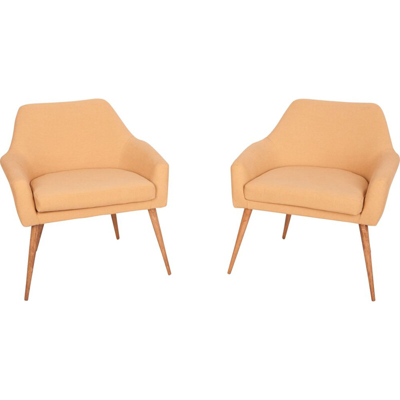 Pair of vintage mustard armchairs, Poland, 1960