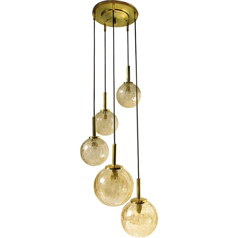 Vintage glass and brass pendant by Fischer 1960