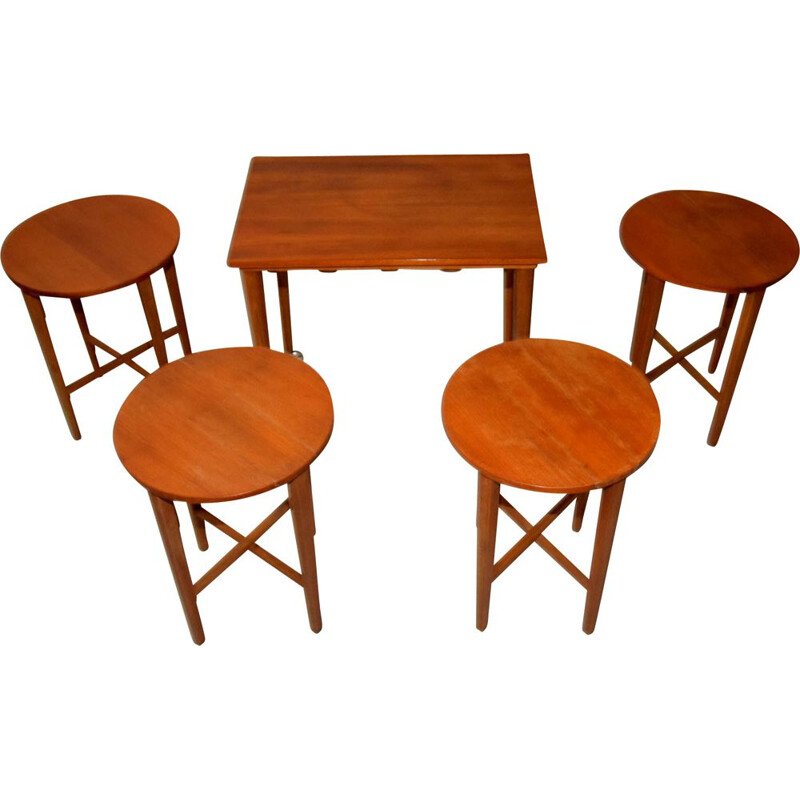 Vintage nesting tables by Poul Hundevad for Nový Domov, Czechoslovakia