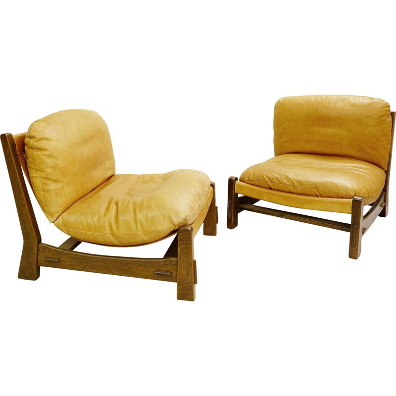 Pair of vintage armchairs in canvas and leather Brazilian style