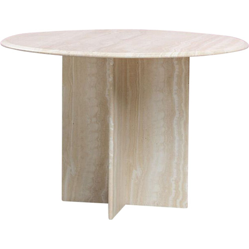 Vintage architectural round postmodern travertine dining table, 1970s