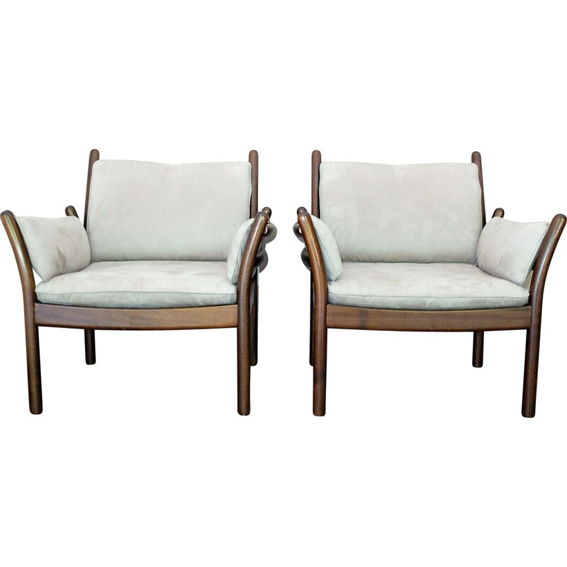 Pair of Scandinavian alcantara armchairs by Illum Wikkelso