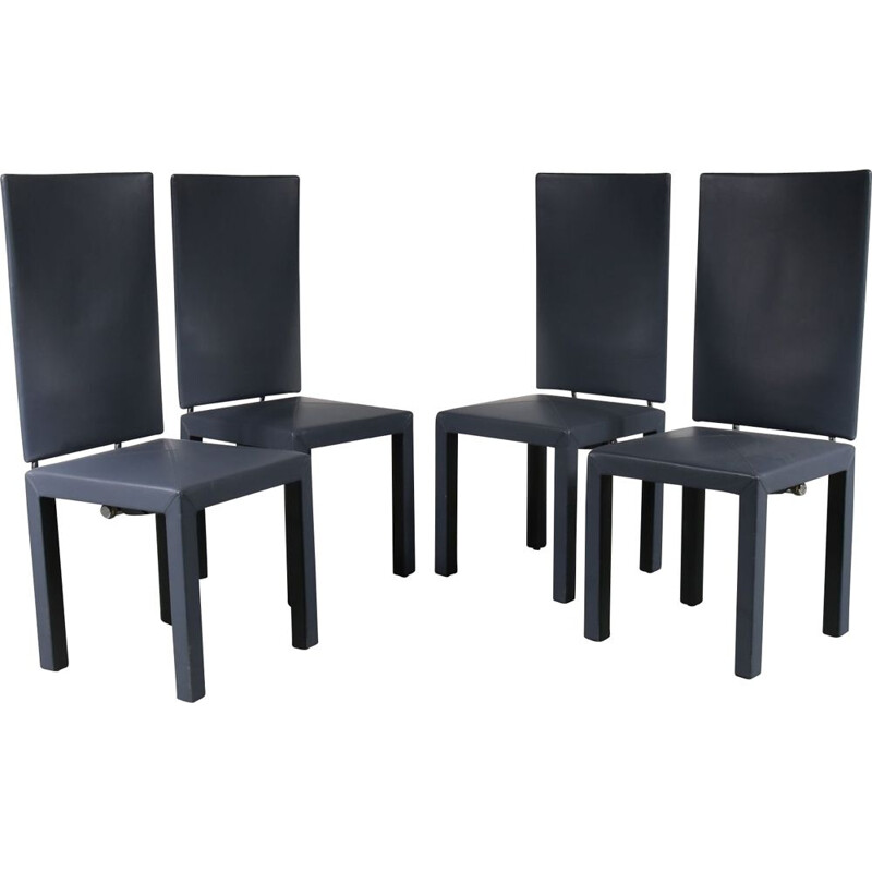 Vintage set of 4 Arcara dining chairs  by Paolo Piva for B&B Italia, 1980