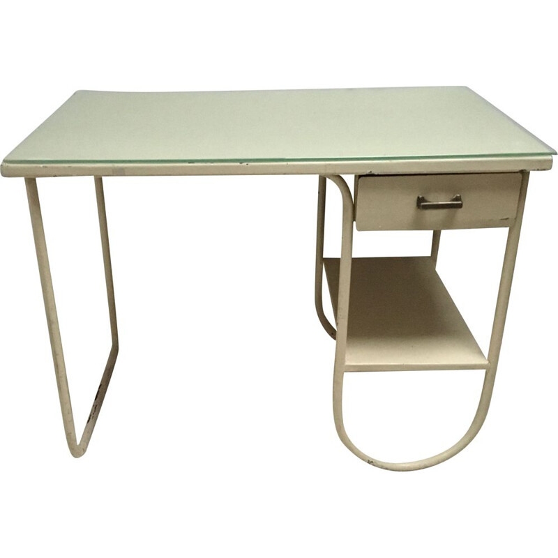 Vintage Small metal industrial bauhaus desk 1930
