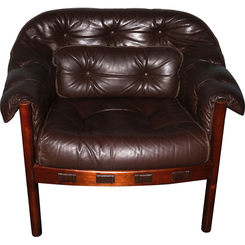 Vintage Dark Brown Leather Lounge Chair by Arne Norell for Coja, 1960