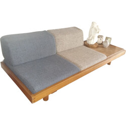 Bench / daybed in oak and elm wood, Pierre CHAPO - 1958