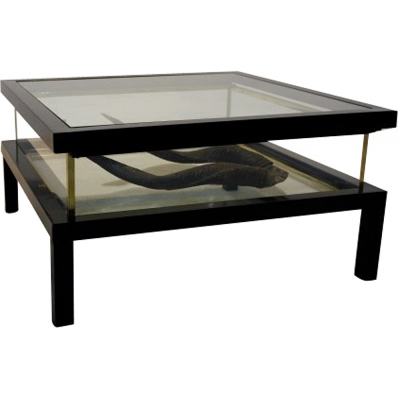 Modernist Sliding Top Coffee Table In Brass And Glass 1970s