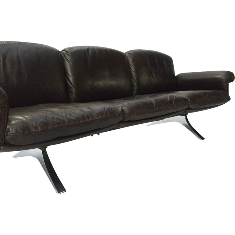 Vintage DS 31 brown leather 3-seater sofa by De Sede