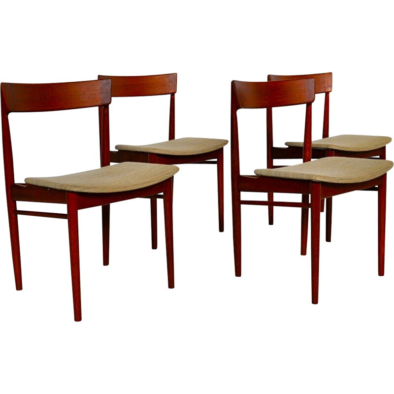 Brande Mobelfabrik set of 4 dining chairs, Henry R. HANSEN - 1960s