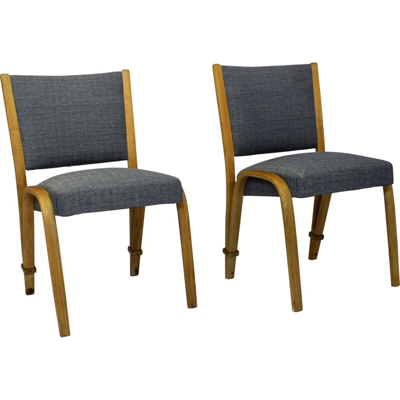 Set of 2 vintage Bow Wood chairs, Steiner publisher, 1950s