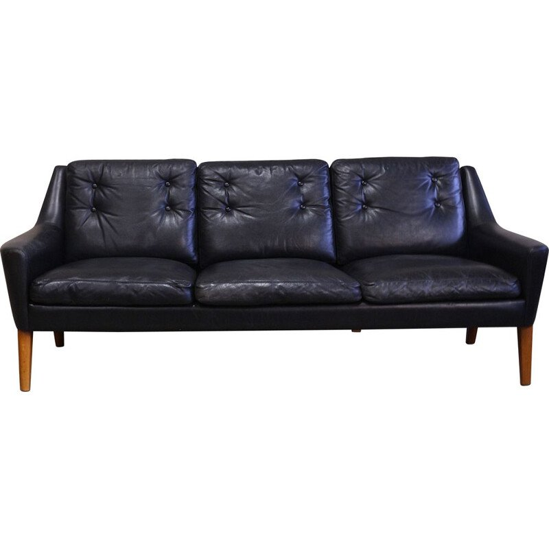 Vintage Black Leather Swedish Sofa by Ulferts Tibro 1960