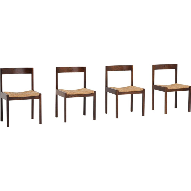 Set of 4 vintage wenge dining chairs by Martin Visser
