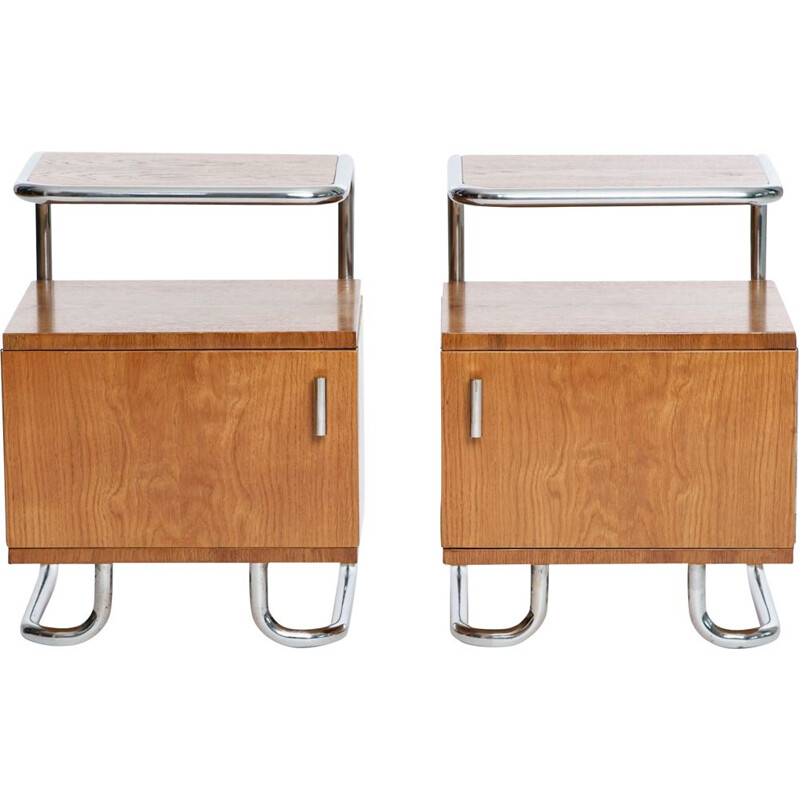 Pair of vintage Art Deco Chrome and Tubular Steel Sideboards from Kovona