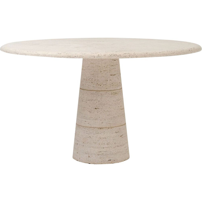 """Vintage round """"Up&Up"""" dining table in travertine 1970s"""
