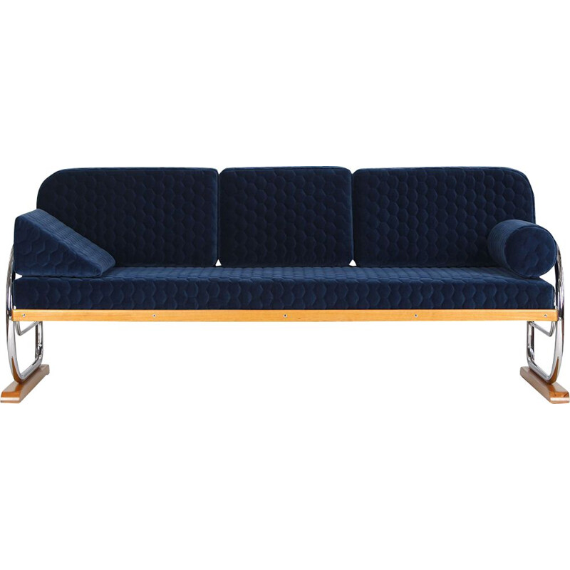 Vintage Art Deco Tubular Steel Couch Daybed from Hynek Gottwald, 1930s