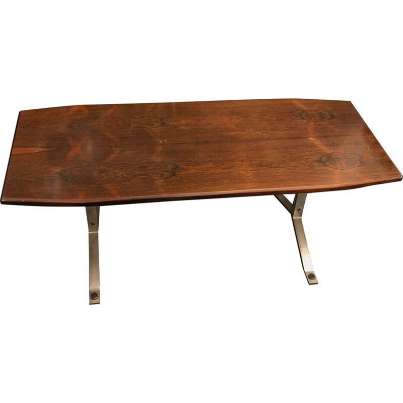 Vintage coffee table in rosewood and steel, 1970