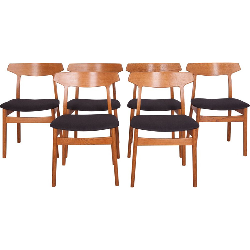 Set of 6 vintage oak dining chairs by H. Kjaernulf for Bruno Hansen, 1960s