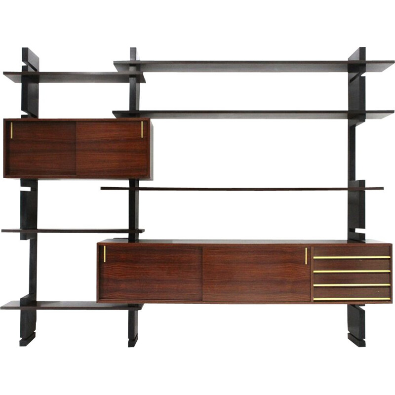 "Vintage black uprights ""Exstenso"" wall unit by Amma, 1960s"
