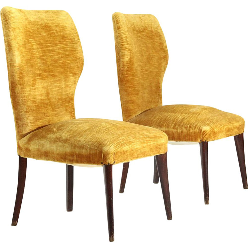 Pair of vintage italian ocher velvet bedroom chair, 1950s