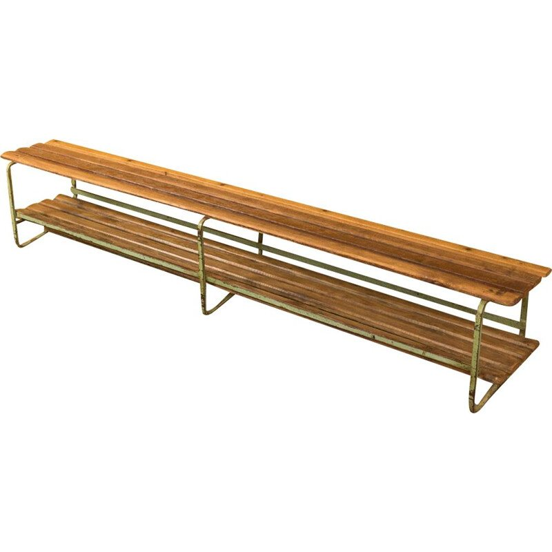 Vintage locker room bench from the 1950s