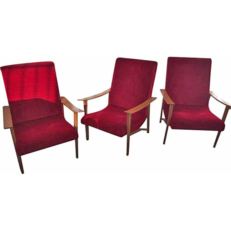 Set of 3 vintage armchairs, Scandinavian design in red moleskine 1960