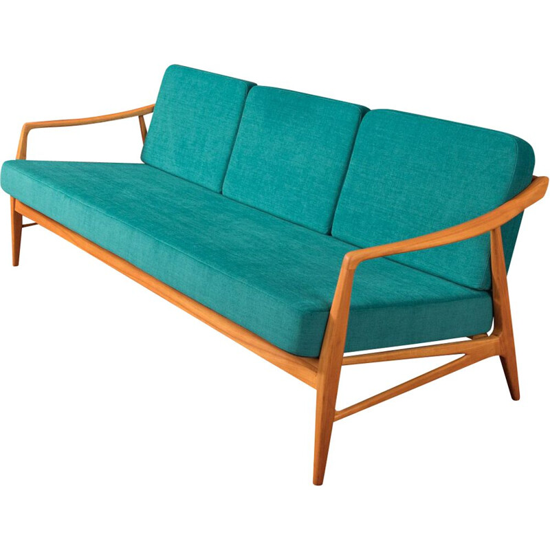 Vintage blue petrol sofa in cherrywood from the 1950s