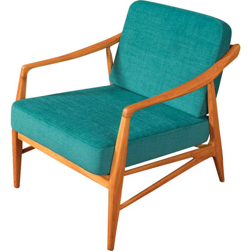 Vintage blue petrol armchair from the 1950s