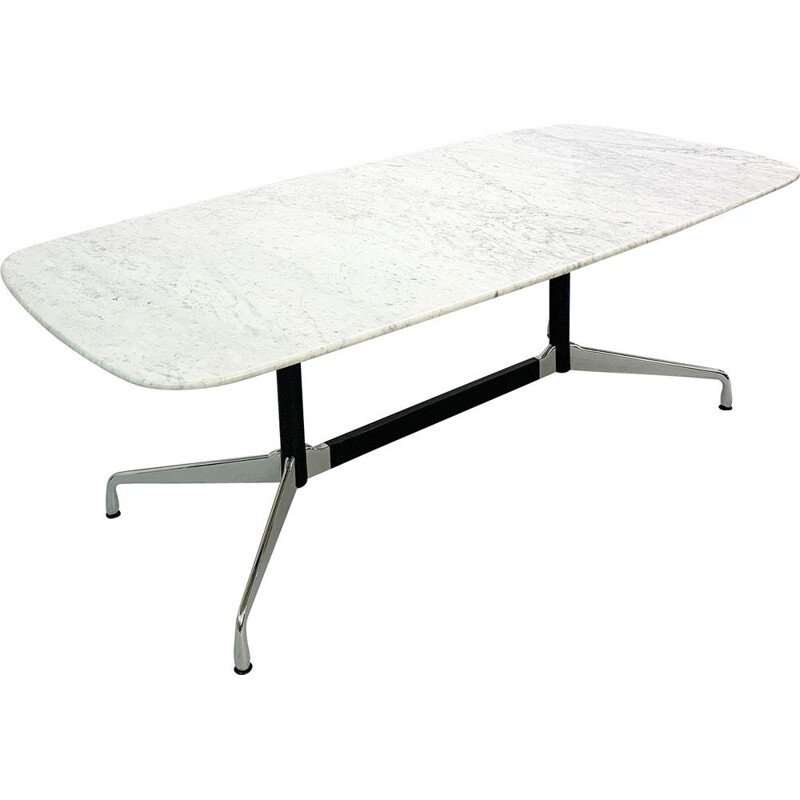 Vintage segmented dining table with marble top by Eames for Vitra