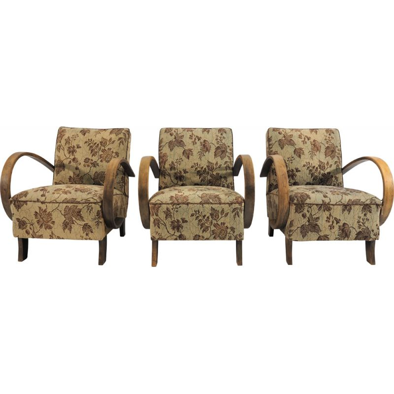 Set of 3 Art Deco vintage armchairs by Jindřicha Halabala