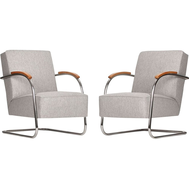 Set of 2 vintage steel armchairs from Mücke Melder