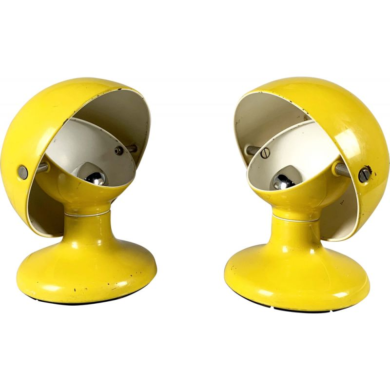 Set of 2 Yellow Jucker 147 vintage table lamps by Tobia & Afra Scarpa for Flos, 1960s