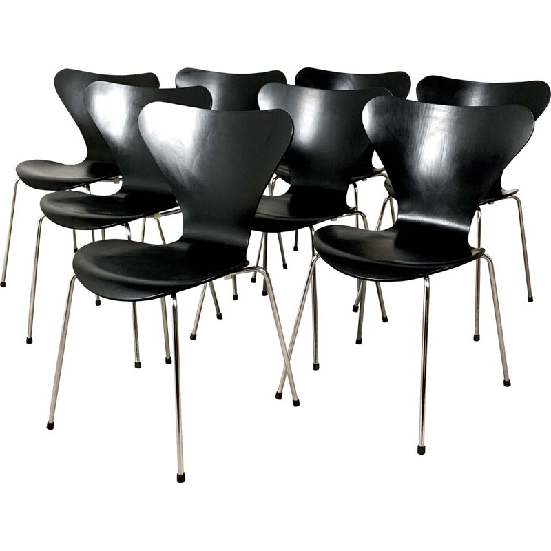 Set of 8 vintage 3107 Chairs by Arne Jacobsen for Fritz Hansen, 1960