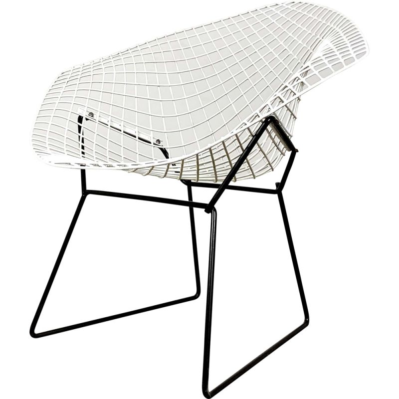 Vintage Black & White Diamond Chair by Harry Bertoia for Knoll
