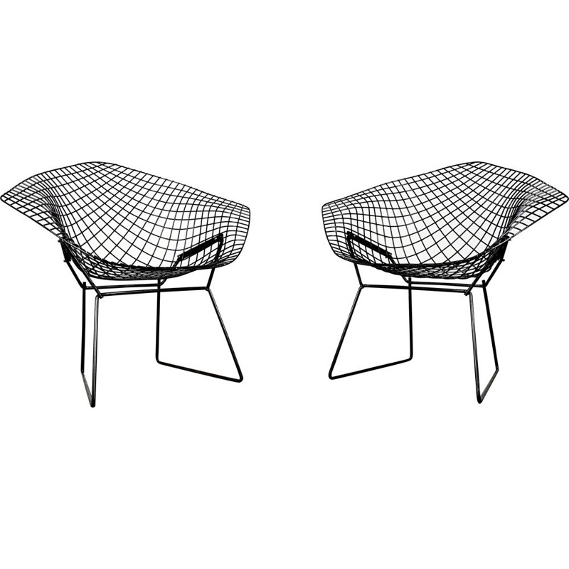 Pair of vintage Black Diamond Chairs by Harry Bertoia for Knoll