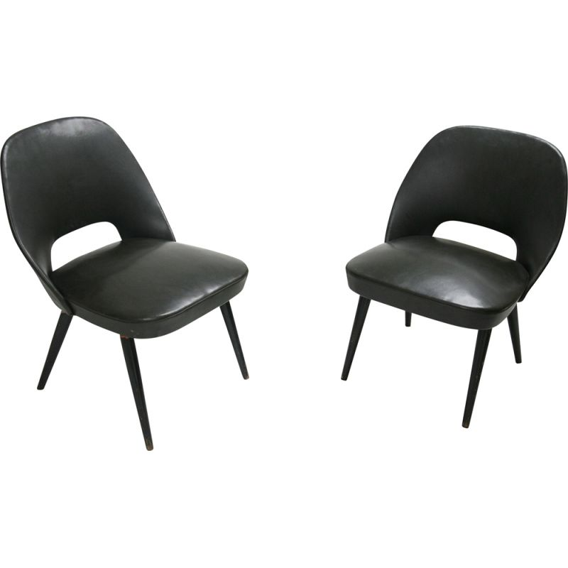 Set of 2 vintage black armchairs, Italy, 1960s