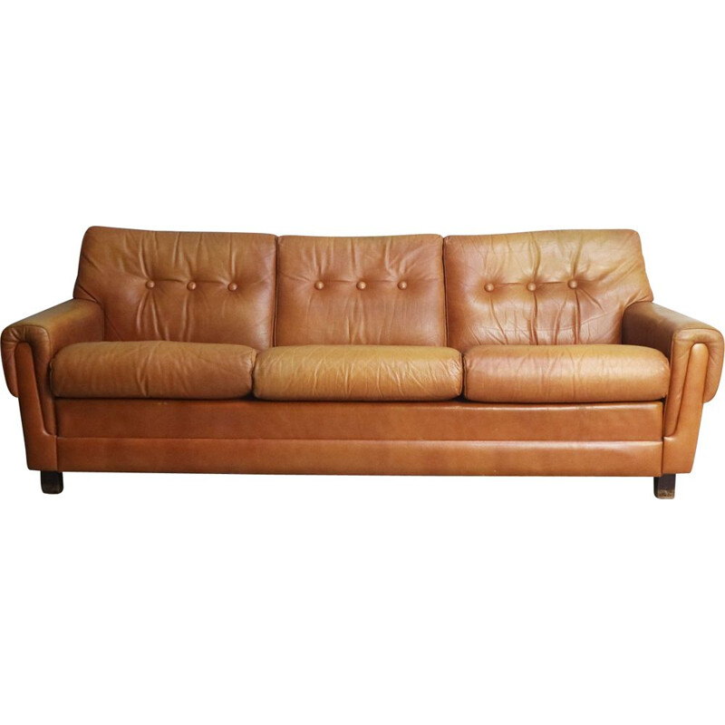 Vintage leather 3 seater sofa, Denmark, 1960s