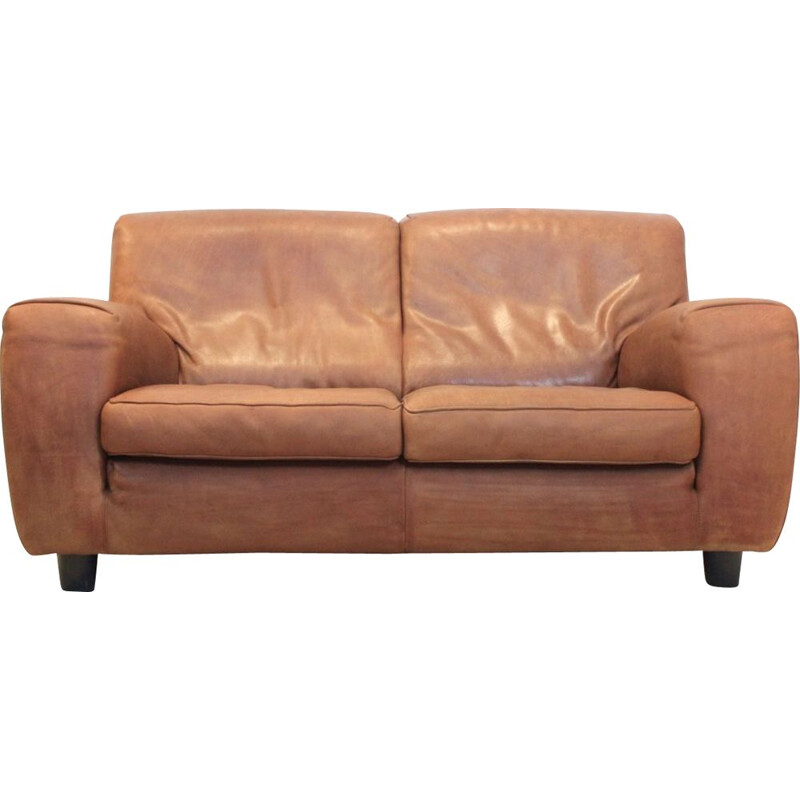 "Vintage cognac bull leather ""Fatboy"" sofa by Molinari, 1980s"