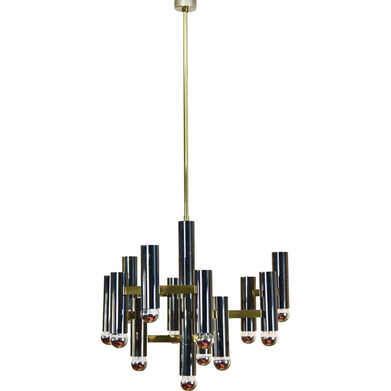 Vintage Brass and Black Pearl Chandelier by Gaetano Sciolari, Italy 1970