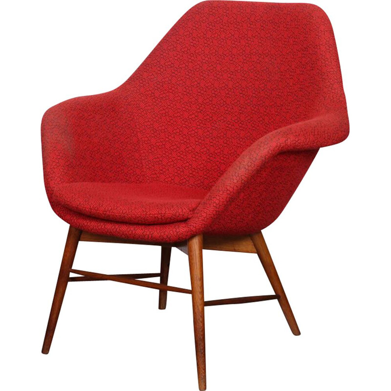Vintage red armchair by Miroslav Navratil, 1960