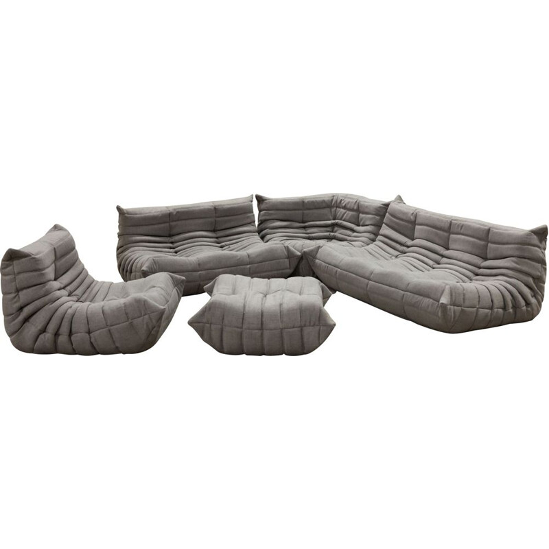 Vintage grey Togo set by Michel Ducaroy for Ligne Roset 1973