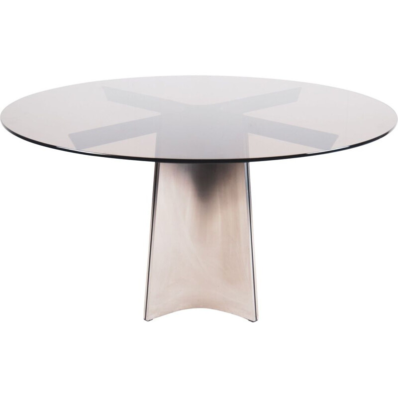Vintage Steel Glass Dining Table by Luigi Saccardo For Maison Jansen, 1970s