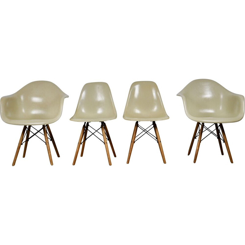 Vintage set of DSW Dining Chair and armchairs by Charles and Ray Eames for Herman Miller, 1970s