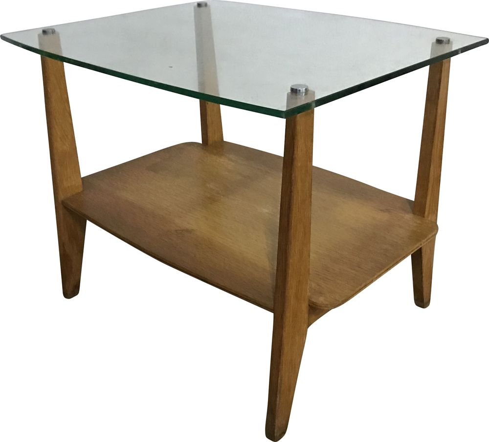 Vintage Glass Coffee Table With Oak Base And Triangle Shape 1950 S