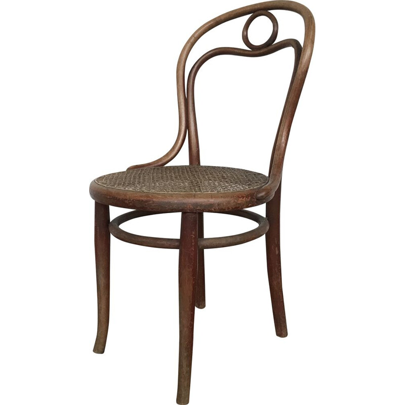 Vintage chair n 31 de THONET in turned wood and cane of origin 1920