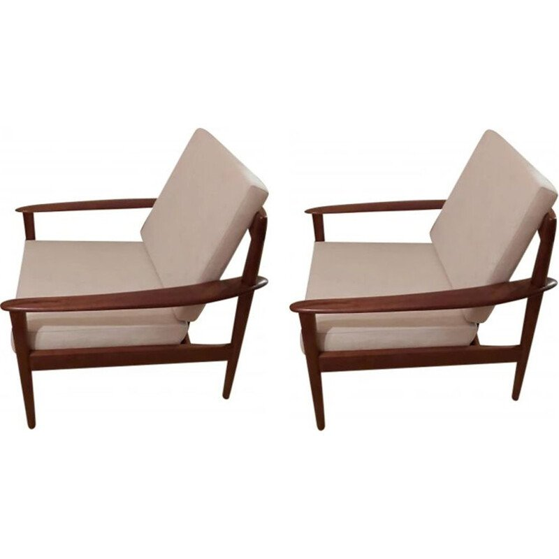 Pair of vintage armchairs by G. Jalk for Poul Jeppesens Møbelfabrik, Denmark, 1950s