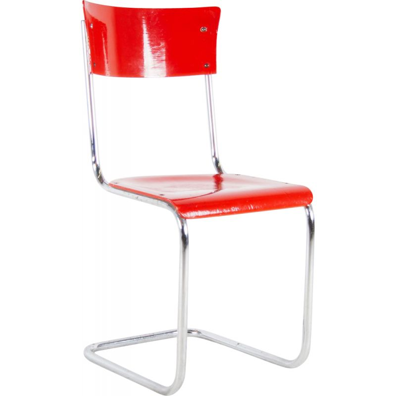 Vintage red wooden chair S43 by Mart Stam for Thonet, 1931s