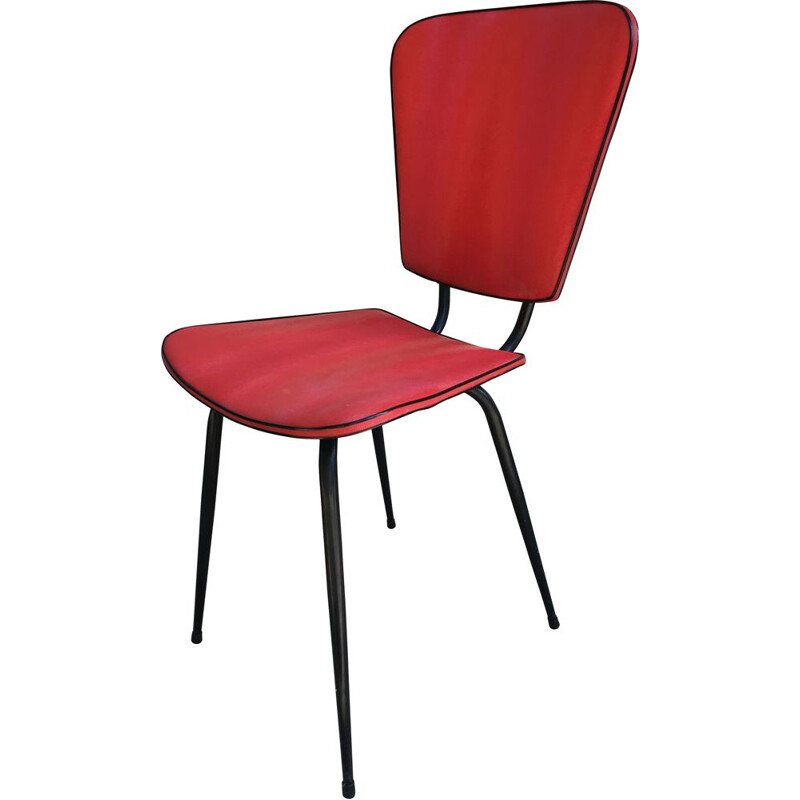 Vintage retro red steel and skai chair, 1950s